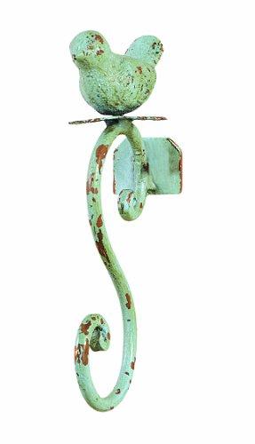 Creative Co-op Vintage Metal Bird Hook in Distressed Light Blue Finish