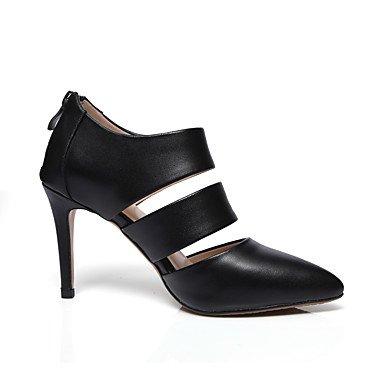 Talones de las mujeres Verano Otoño Club de los zapatos de cuero de vaca fiesta y noche del vestido ocasional de tacón de aguja color de rosa rosado Negro Black