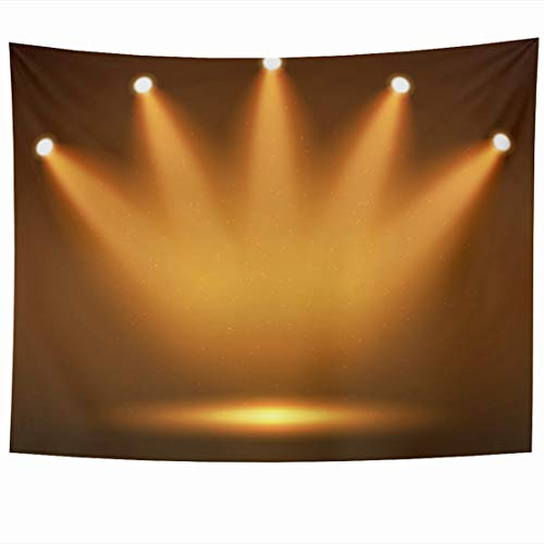 AlliuCoo Wall Tapestries 80 x 60 Inches Orange Fame Spotlight Stage Your Design Colorful Light Yellow Hall Celebration Home Decor Wall Hanging Tapestry Living Room Dorm