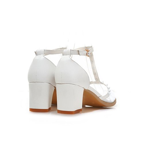 VogueZone009 Womens Closed Pointed Toe Kitten Heel Mesh Soft Material Solid Sandals with Buckle and Rivet, White, 3 UK