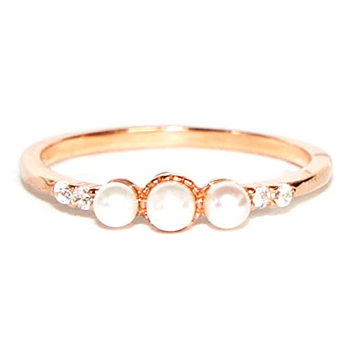 (Gieschen Jewelers CAMILA Rose Gold-Plated .925 Sterling Silver CZ and Simulated Pearl Ring, Size 4)