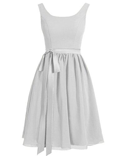 Dresses di Argento Breve HUINI Sash Abiti Nozze Festa Satin Prom Cinghie Scoop x66q0nIwzH