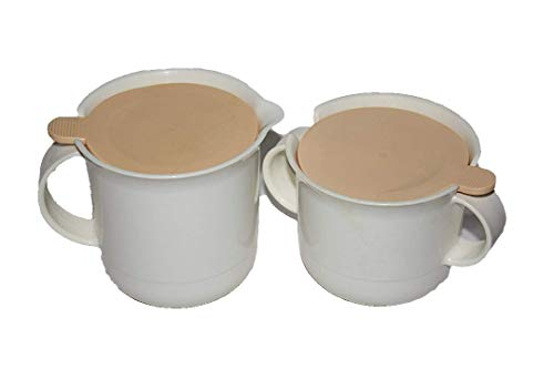 (Vintage Tupperware Plastic White w/ Pinkish Lid Sugar Bowl & Creamer Set)