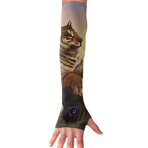 QG ZZX Tiger and Butterfly Unisex Compression Arm Sleeves UV Protection Performance Arm Sleeve - for Outdoor Sports Baseball,Basketball,Football (1 Pair) -