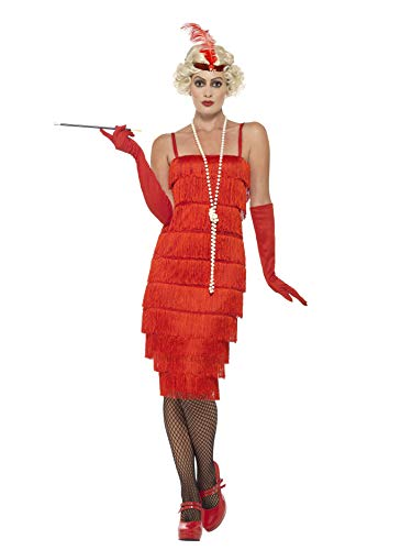 Smiffys Women's Flapper Costume, Long Dress, Headband and Gloves, 20's Razzle Dazzle, Serious Fun, Size 6-8, 45501