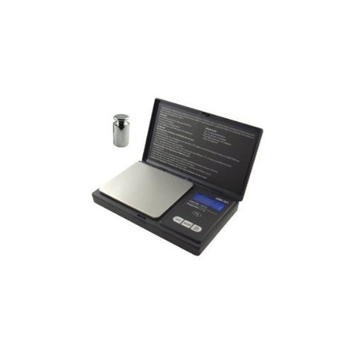 American Weigh Signature Series Black Digital Pocket Scale, 1000 By 0.1 Grams Also Includes a 50 Gram Chrome Scale Calibration Weight by American Weigh