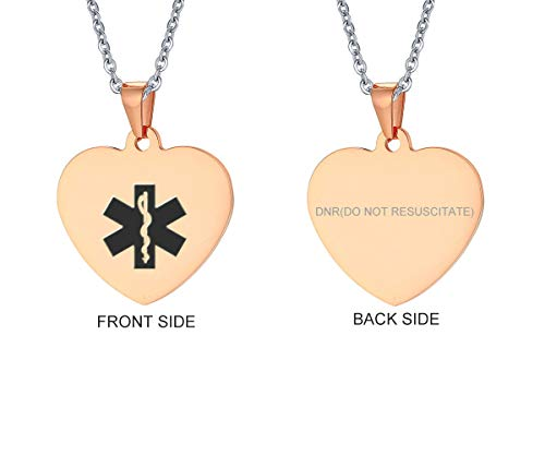 VNOX Rose Gold Plated Stainless Steel DNR Heart Medical Alert ID Pendant Necklace for Men Women ()