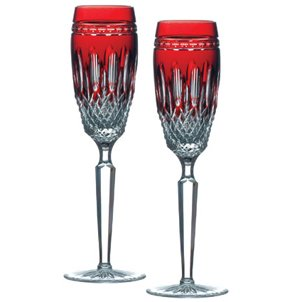 Ruby Champagne (Waterford Clarendon Stemware Ruby Flute Pair)
