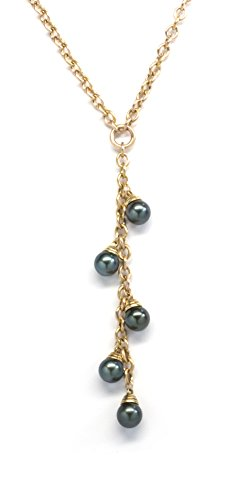 ISAAC WESTMAN 14K Yellow Gold Lariat Necklace with Black Tahitian Cultured Pearls 7.5-8mm, 18