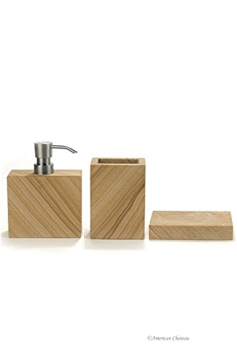 Heavy 3 Piece Brown-Tan Natural Stone Marble Bath Bathroom Accessory Set - HIGH QUALITY: 3 Piece bathroom accessory set made of high quality stone. NATURAL MATERIAL: Heavy marble construction with natural striation patterns Quality PUMP: Stainless Steel look pump with durable plastic mechanism. - bathroom-accessory-sets, bathroom-accessories, bathroom - 313v0Ah4pXL -