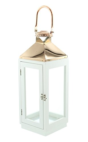 PierSurplus 16.5 in. Copper Top White Wooden Candle Lantern with Rose Gold Hanging Loop - Large Product SKU: CL111853 by PierSurplus (Image #6)