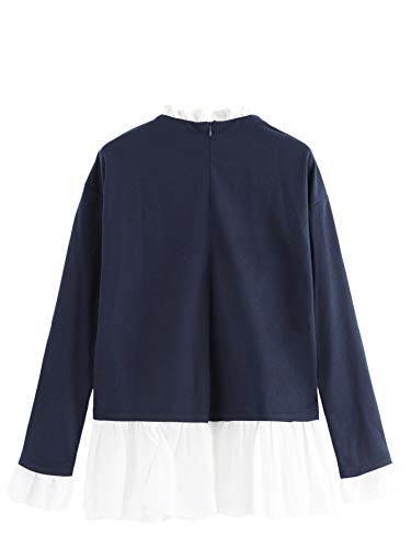 94def9318e8d SheIn Women's Casual Mock Neck Colorblock Heather Knit Sweatshirt:  Amazon.com.au: Fashion