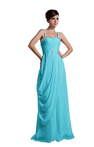 Novia Mall spaghtti de la mujer correas cuentas Evening Party vestidos azul azul (Skyblue) 46