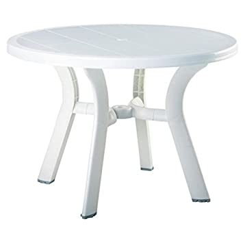 Pemberly Row 42 Round Commerical Grade Resin UV Resistant Outdoor Patio Dining Table in White