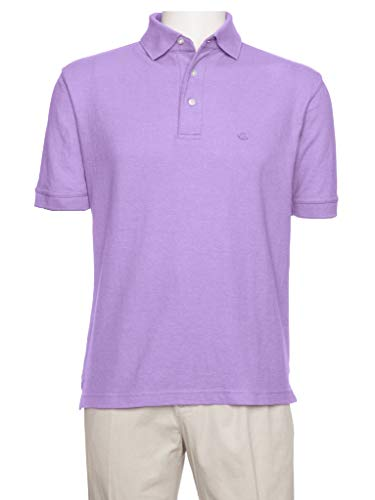 AKA Men's Solid Polo Shirt Classic Fit - Pique Chambray Collar Comfortable Quality Lavender X-Large ()