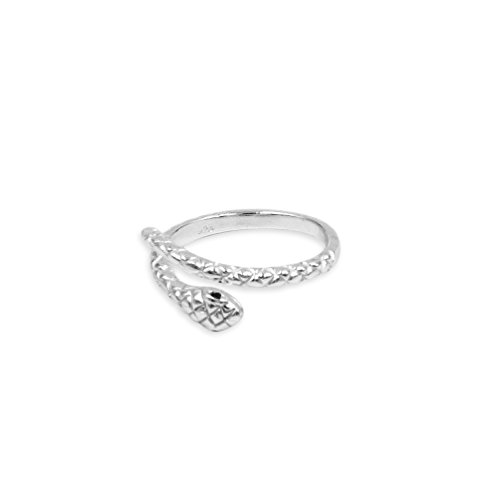 Sterling Silver Coiled Snake Open End Wrap Ring Adjustable Size 8 (Sterling Silver Coiled Snake)