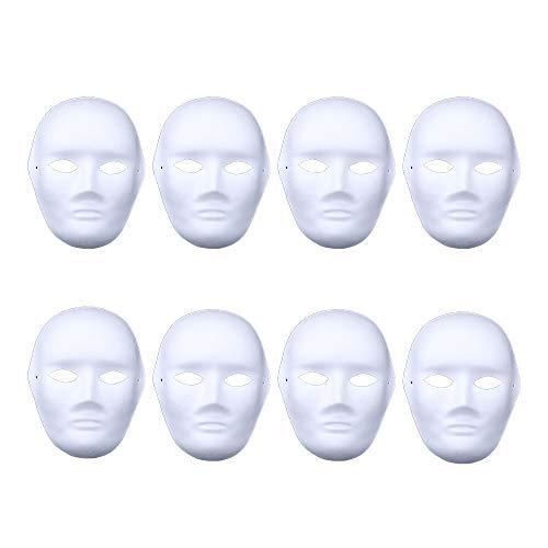 Rehoty White DIY Masks, 8 Pcs Paper Full