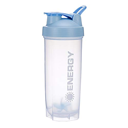 Energy Perfect Shaker Bottle, Classic Gym Sports Bottle, Salad Mixing Cup, with Stirring Ball, 24-Ounce Sports Bottle, Essential for Fitness Gifts,Gray (Blue)