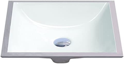 Geyser White Vitreous Porcelain Undermount Bathroom Sink 16 x 11 inches