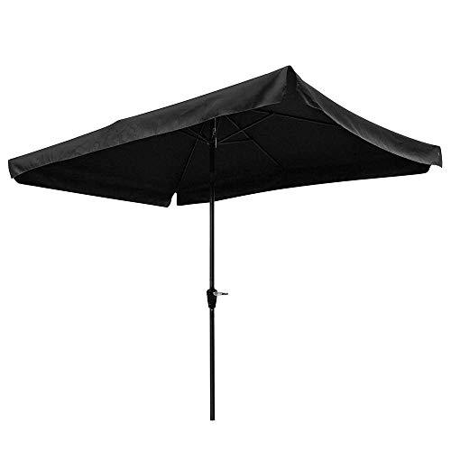 CHIMAERA Outdoor Patio Garden Backyard Tilt Rectangular 6-Rib Tilt Umbrella with Valance 10' x 6.5' Water-Resistant (Black)