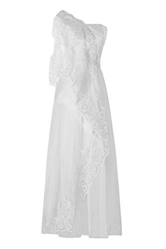 Dresstore Women's One Shoulder Lace Prom Gowns Sequins Evening Formal Dress White US 24Plus