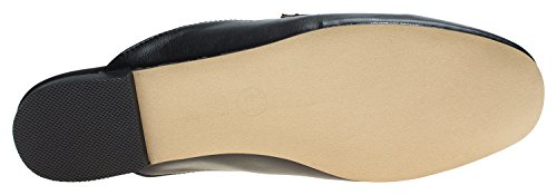 Annakastle Womens Penny Strap Backless Slip On Mocassino Flat Mule No Fur Black + Penny Tipo 1