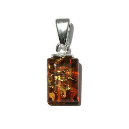 Honey Amber Sterling Silver Small Rectangular -