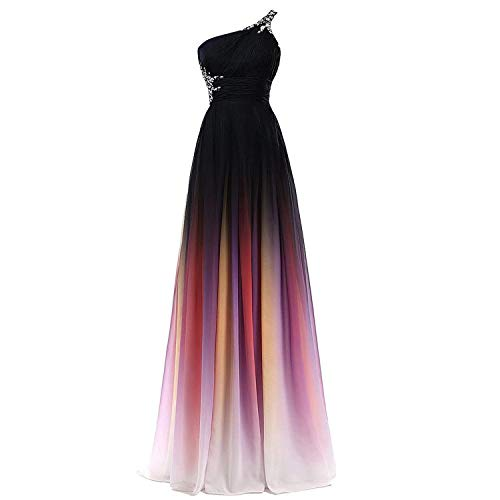 Plus Size Beaded One Shoulder Long Ombre Prom Evening Dresses Black Rainbow 22W