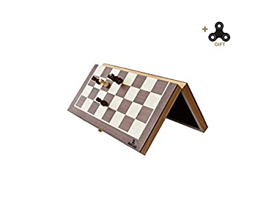 Folding Wooden Chess Set,HOWADE 12 × 12 Inch Handmade Foldable International Chess Set with Magnetic and Chessmen Storage Slots.
