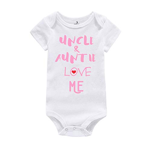 Amberetech Baby Boy Girl Romper Outfit Uncle Auntie Love Me Print Newborn Baby Jumpsuit Clothes (Uncle Auntie - Pink, Tag 6 (for 3-6 Months))