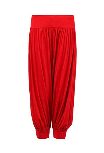Loxdonz Kids Harem Loose Casual Baggy Sports Dancing Pants Girls Harem Children Trouser (9-10 Years, Red)