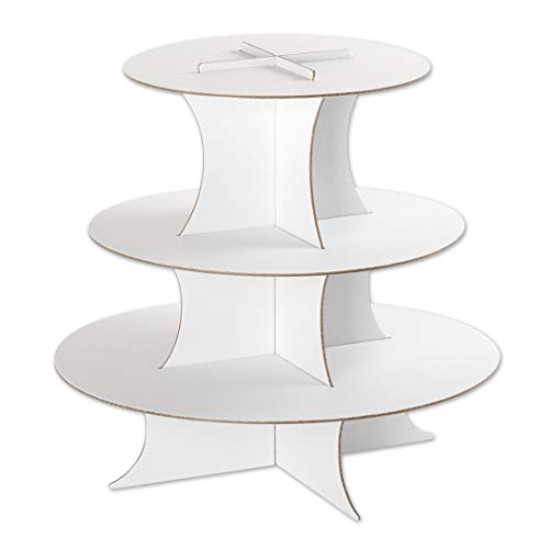 Andaz Press 3 Tier Cupcake Stand, Round Cupcake Board, Holds 35 Standard Size Cupcake Liners, Disposable Cupcake Holder, Serving Platter, for Birthday, Wedding, Bridal Shower, Baby Shower]()