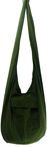 Rare Asian East Hippie Hobo Cotton Sling Cross-body Handmade Asia Green Thai Pattern Bag Shoulder Purse