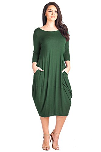 Made Midi 12 Dress Green 4 Plus Pocket Hem Sleeve Solid USA Ami 3 Size Bubble in 77qZxvwPr
