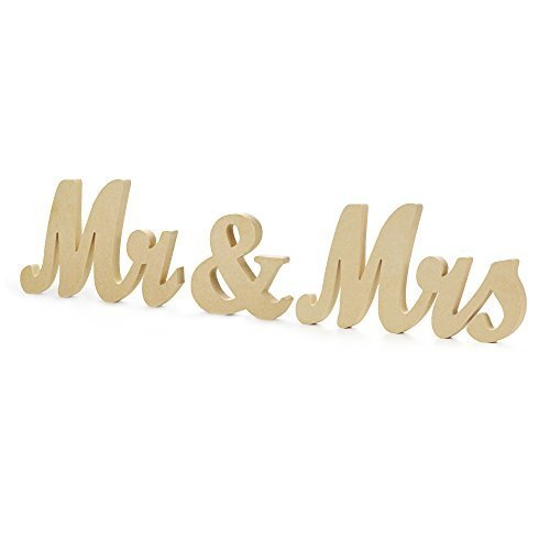 Mr & Mrs Letters Sign - Vintage Style Wooden DIY Decor for Wedding Decoration Table Decor ()