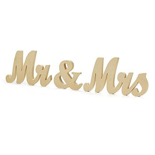 Mr & Mrs Letters Sign - Vintage Style Wooden DIY Decor for Wedding Decoration Table ()