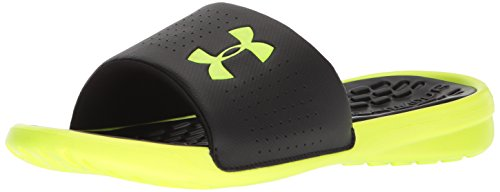 Under Armour Men's Playmaker Fixed Strap Slide Sandal, Black (003)/High-Vis Yellow, 11