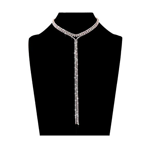 - LIAO Jewelry 3 Row Rhinestone Tassel Choker Necklace Crystal Collar Necklace Gothic Wide Diamond Charms for Girls (Rose Gold)