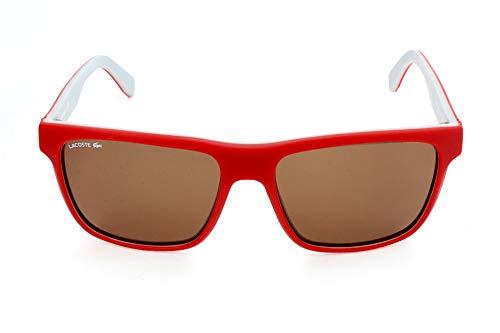 Lacoste Men's Men's Lacoste L876s Plastic Square Stripes & Piping Sunglasses L876S-615 Square Sunglasses, Matte Red/Grey, 57 mm (Sunglasses Lacoste Red)