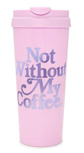 Ban.do Hot Stuff Insulated Thermal Travel Mug, 16 Ounces, Not Without My Coffee (purple)