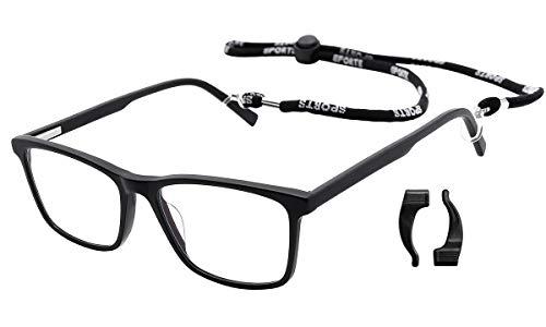 O-LET Blue Light Blocking Computer Gamer Glasses for Men Women HD Anti Eyestrain Eyeglasses with case/Cloth/Ear Hooks (Black, 0.0 ()