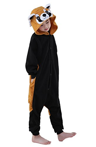 [Newcosplay Polar Flannel Children Onesies Halloween Costumes (125#, Raccoon)] (Raccoon Girl Costumes)