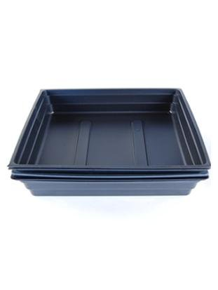 Plant Germination Drip Trays - Pack of 100 - 10'' by 10'' Black Plastic Greenhouse Growing Trays with No Drain Holes - For Seedlings, Microgreens, Wheatgrass, More by Living Whole Foods