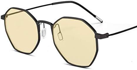 Schutzgläser Polygonal Spielbrille Außen Polarisations-Brille 72% blaues Licht Blocking Teenager Anti-Myopie Anti-Strahlung Brown Plain Lenses (Color : Black)