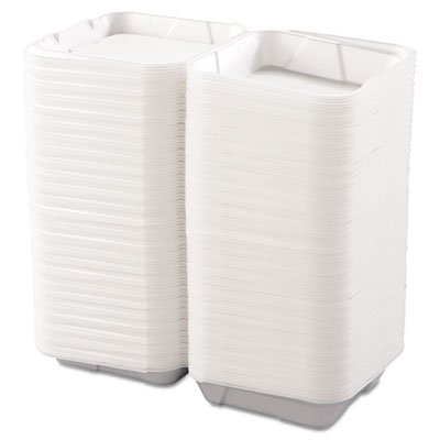 1 Compartment Foam Container - Boardwalk BWK 0100 White Color Large 1 Compartment Snap-It Foam Hinged Carryout Container