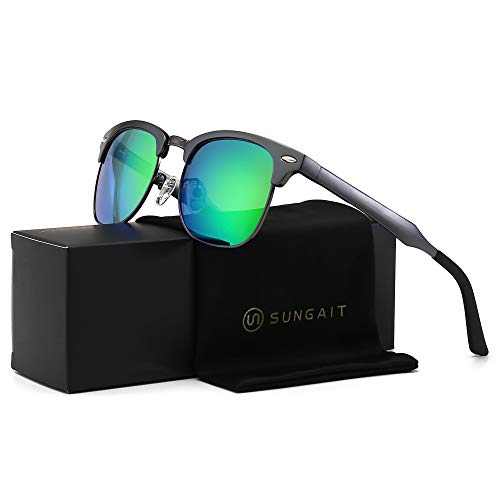(SUNGAIT Classic Half Frame Retro Sunglasses with Polarized Lens (Gunmetal Frame Green Lens) )