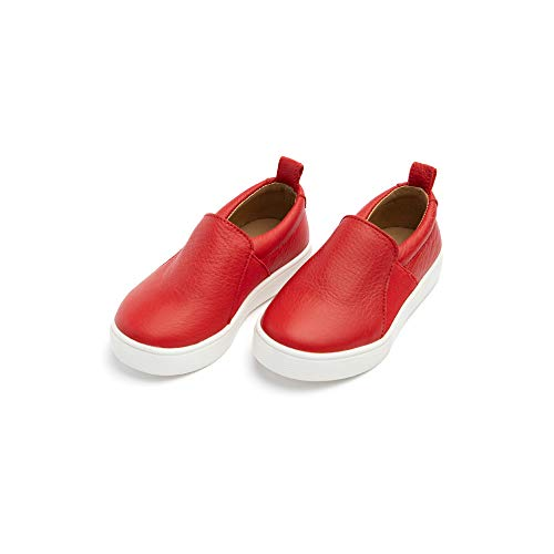 Freshly Picked - Little/Big Girl Boy Kids Leather Slip-On Sneaker - Size 7 Cherry Red (Picked Freshly)