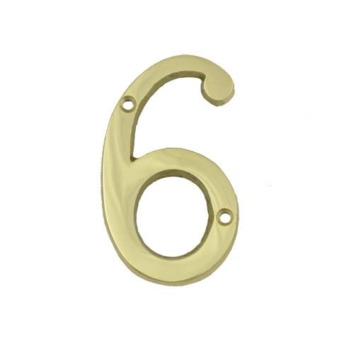 (#6) BOLTON 3 Inch Solid Brass Bright Brass Finish House Number Raised 1/6""