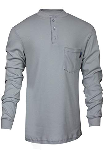 National Safety Apparel C54PGBSLS3X Flame Resistant Classic Cotton Long Sleeve Henley Shirt, 3X-Large, Gray
