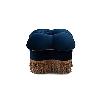Brika Home Hand Tufted Clover Ottoman in Navy Blue